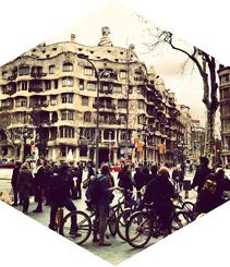 Paseo de Gracia en bicicleta
