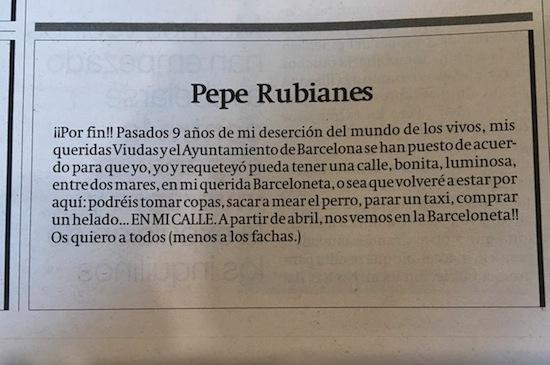 3c Pepe Rubianes ya tiene calle en la Barceloneta